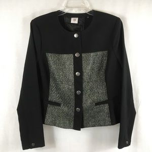 Cabi Black Silver Media Snap Blazer Jacket 3036 L